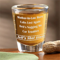 Personalized Name Your Troubles Shot Glass