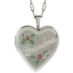 Sterling Silver Grandma Heart Photo Locket with Flowers
