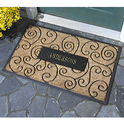Personalized Flourish Rectangle Coir Doormat