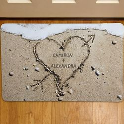Personalized Heart in Sand Doormat