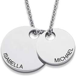 Stainless Steel Engraved Couple's Name Double Disc Necklace