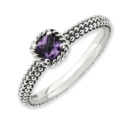 Stackable Antiqued Sterling Silver Checker-Cut Amethyst Ring