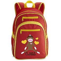 Personalized Sock Monkey Large Red Backpack
