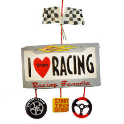 Personalized I Love Racing Christmas Ornament