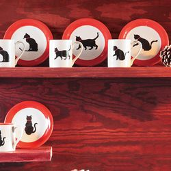 Black Cat Ceramic Dessert Plates