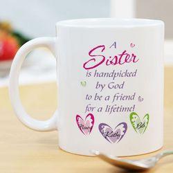 Personalized Sisters 11-Ounce Ceramic Mug