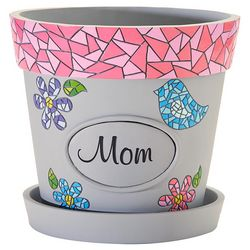 Personalized Name Mosaic Flower Pot with Pink Rim