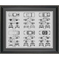 Porsche Blueprint Collection Art Print