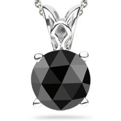 Black Diamond Scroll Solitaire Pendant in 14K White Gold