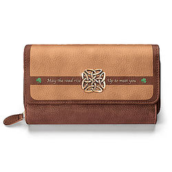 Irish Blessing Trifold Wallet with Celtic Knot Charm