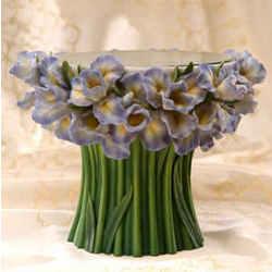Bearded Iris Pedestal Cake Stand