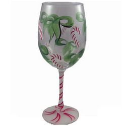 Candy Cane White Wine Glass