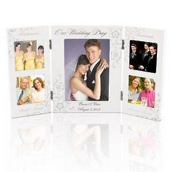 Personalized Wedding Party White Wooden Frame