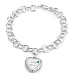 May Birthstone Locket Bracelet
