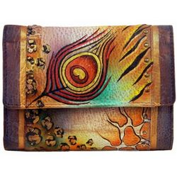 Anuschka Handpainted Leather Ladies Three Fold Wallet
