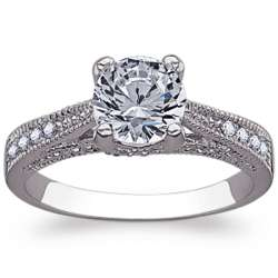 Cubic Zirconia Solitaire Milgrain Wedding Ring