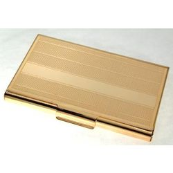 Engraved Gold Plated Textured Business Card Case
