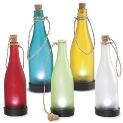 10 Colorful Glass Solar Bottles