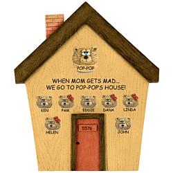 Teddy Bear House Plaque Personalized for Father