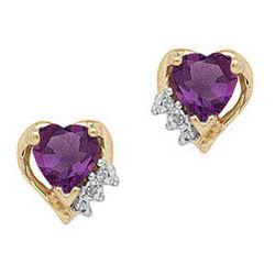 Amethyst and Diamond Heart Earring