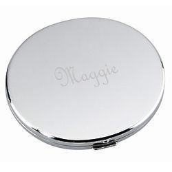 Silver Tone Purse Compact Mirror
