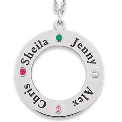 Sterling Silver Family Name and Birthstone Disc Pendant