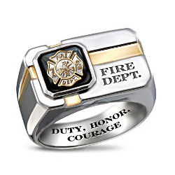 For My Firefighter Sterling Silver and Black Onyx Men's Ring