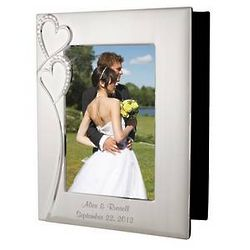 Personalized Wedding Silver Photo Album with Frame