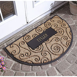 Personalized Flourish Half Round Coir Mat