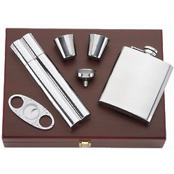 That's Entertainment 5 Piece Flask and Cigar Set