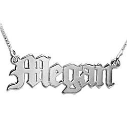 14k White Gold Old English Style Personalized Necklace