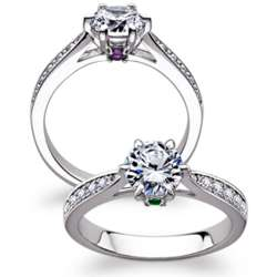 Sterling Silver Cubic Zirconia and Hidden Birthstone Promise Ring