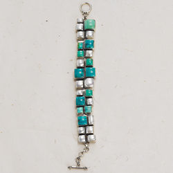 Stepping Stones Turquoise and Pearl Bracelet