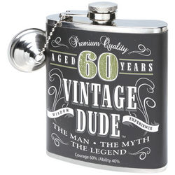 Aged 60 Years Vintage Dude Birthday Flask