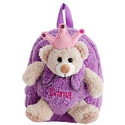 Personalized Princess Bear Plush Backpack
