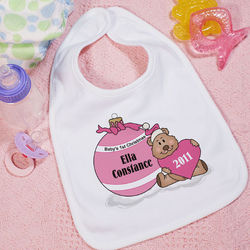 Baby's First Pink Ornament Baby Bib