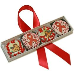 Red Ribbons and Angels White Chocolate Oreos