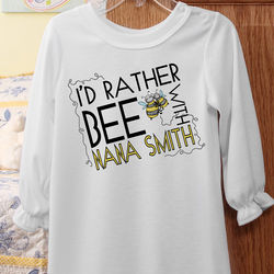 I'd Rather Bee Personalized Girls Nightgown