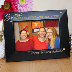 Sisters Are Tied Together with Heartstrings Personalized Frame