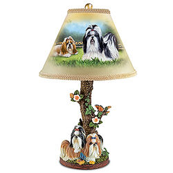 Shih Tzu Table Lamp with Linda Picken Art and Sculpted Bas