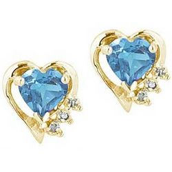 Blue Topaz and Diamond Heart Earring