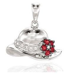 14k White Gold Diamond Ruby 3D Flowered Hat Bracelet Charm