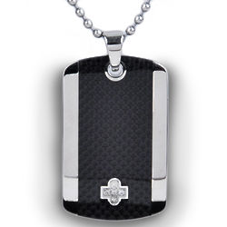 Carbon and Stainless Steel Dog Tag Necklace With Diamond