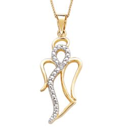 Gold Over Sterling Silver Two-Tone Angel Diamond Necklace