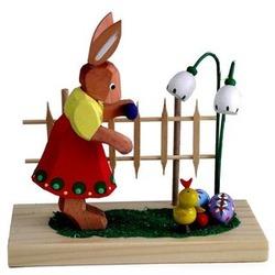 Erzgebirge Easter Girl Bunny at Fence Figurine