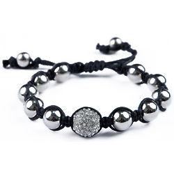 Shamballa Inspired Silver Bead Bracelet