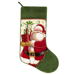 Mr. Claus with Presents Needlepoint Christmas Stocking