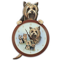 Tail-Waggin' Time Yorkie Dog Animated Wall Clock