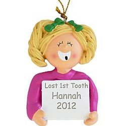 Blonde Girl's Personalized Lost First Tooth Ornament