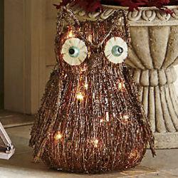 Ophelia Owl Lighted Vine Sculpture